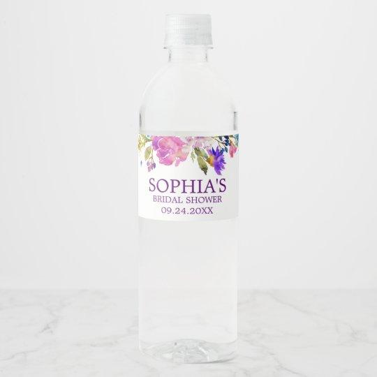 purple pink blue watercolor flower bridal shower water bottle label