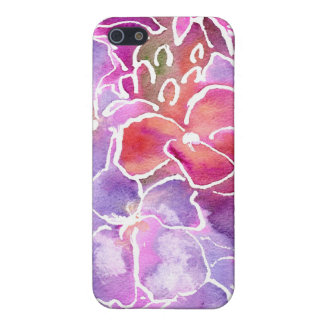Purple, Pink, Blue Watercolor Wallflowers on White Cover For iPhone SE/5/5s