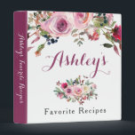 """Purple Pink Boho Chic Rose Floral Recipe Binder<br><div class=""""desc"""">Purple pink boho chic rose floral bridal shower recipe binder (recipe card inserts are not included but plastic insert sheets can be purchased from a variety of stores). This purple and pink watercolor roses personalized recipe binder is a good choice for a summer wedding shower or a fall / autumn...</div>"""