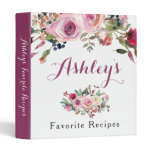 Purple Pink Boho Chic Rose Floral Recipe Binder