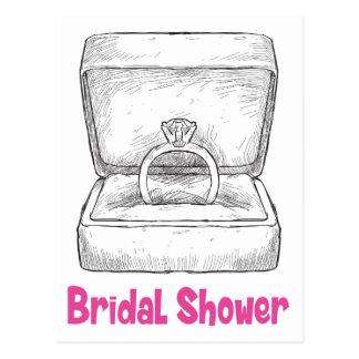 Purple Pink Bridal Shower Diamond Engagement Ring Postcard