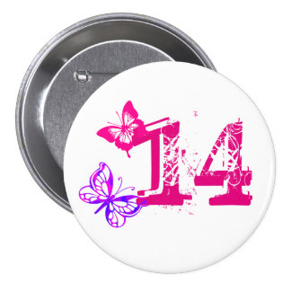Purple, pink butterflies, '14' button for age 14.