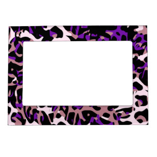 Purple Pink Cheetah Abstract Magnetic Picture Frame