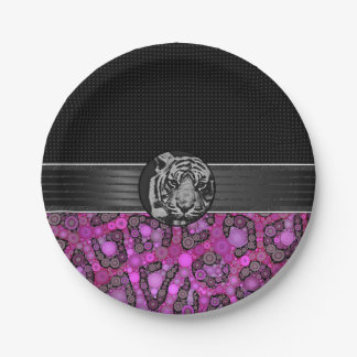 Purple Pink Cheetah Tiger Paper Plate