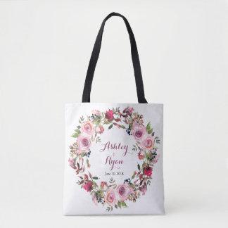 Purple Pink Chic Rose Floral Wedding Bag