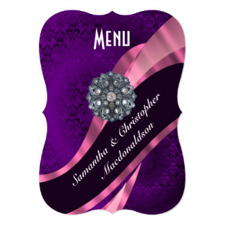 Purple pink damask  elegant formal wedding menu 5x7 paper invitation card