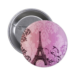 purple pink damask Girly Paris Eiffel Tower Button