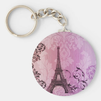 purple pink damask Girly Paris Eiffel Tower Keychain