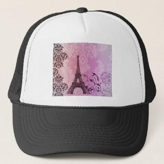 purple pink damask Girly Paris Eiffel Tower Trucker Hat