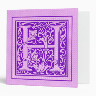 Purple & Pink Decorative Cap Letter H Vinyl Binder