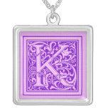 Purple & Pink Decorative Cap Letter K Square Pendant Necklace
