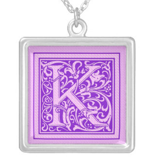 Purple & Pink Decorative Cap Letter K Silver Plated Necklace
