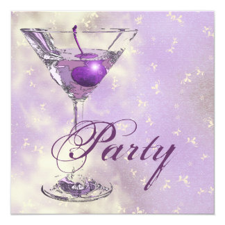 Purple pink elegant formal party 5.25x5.25 square paper invitation card