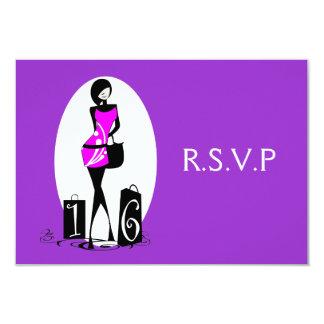 "Purple pink elegant ""sweet sixteen"" rsvp 3.5x5 paper invitation card"