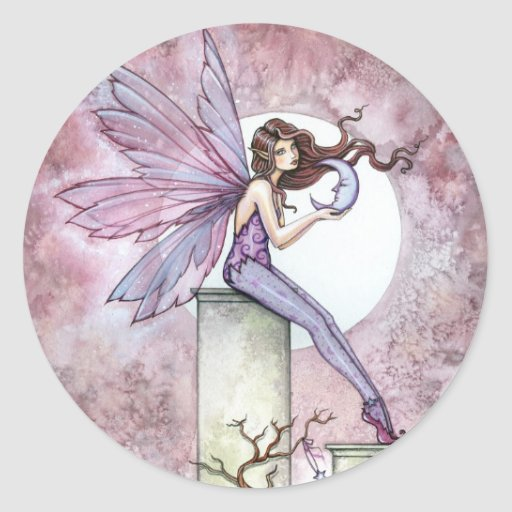 Purple Pink Fairy with Moon Stickers