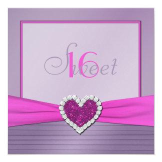 "Purple Pink FAUX Glitter Heart Sweet 16 Invitation 5.25"" Square Invitation Card"