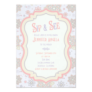 Purple Pink Floral Baby Shower Sip and See 5x7 Paper Invitation Card