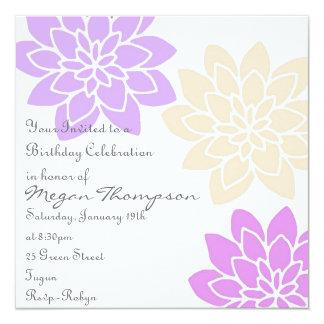 Purple & Pink Floral Birthday Invitation