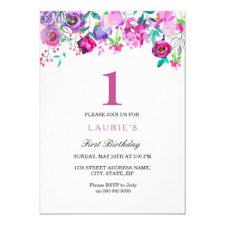 Purple St Birthday Invitations Announcements Zazzle - 1st birthday invitations girl purple