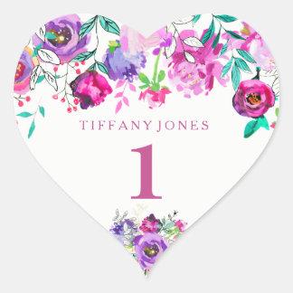 Purple Pink Floral Girl 1st Birthday Love heart Heart Sticker