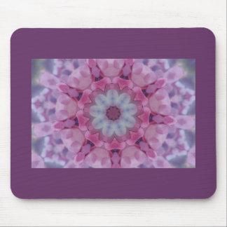 Purple & pink floral kaleidoscope pattern mouse pad