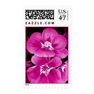 Purple Pink Floral Postage Stamps