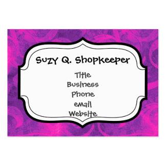 Purple Pink Floral Swirl Flourish Girly Pattern Large Business Card