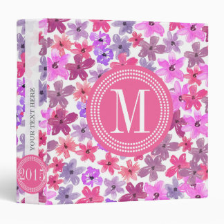 Purple & Pink Floral Watercolor Personalized 3 Ring Binder
