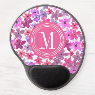 Purple & Pink Floral Watercolor Personalized Gel Mouse Pad
