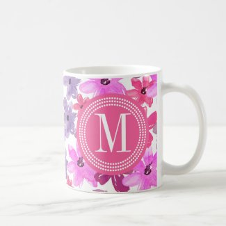 Purple & Pink Floral Watercolor Personalized Classic White Coffee Mug