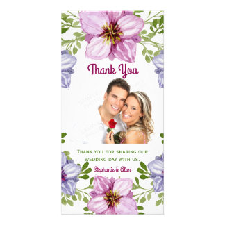 Purple Pink Floral Wreath Wedding Thank You Card