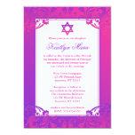 Purple Pink Flourish Bat Mitzvah Invitations Announcement