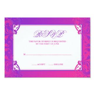 Purple Pink Flourish Bat Mitzvah RSVP Card