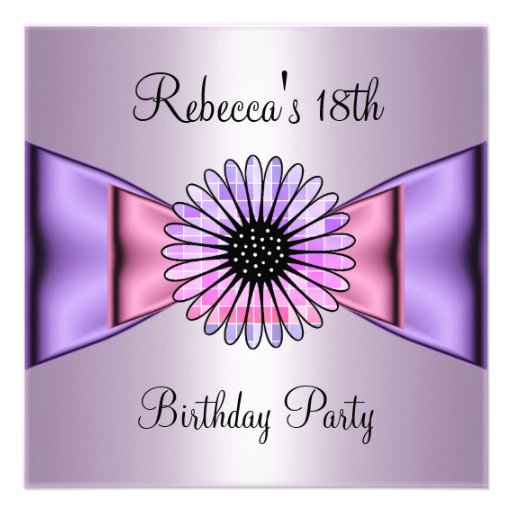 Purple Pink Flower Bow 18th Birthday Party 5.25x5.25