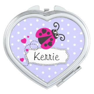 Purple pink flower polka dots name ladybug mirror