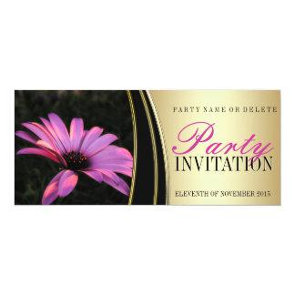 "Purple Pink Flower & Satin Gold Party Invitations 4"" X 9.25"" Invitation Card"