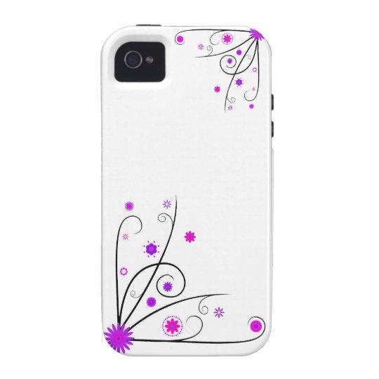 Purple & Pink Flower Swirls Case-Mate iPhone 4 Cover