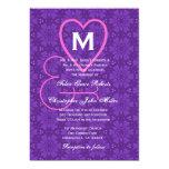 Purple Pink Flowers Hearts Monogram Wedding V033 5x7 Paper Invitation Card