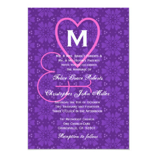 Purple Pink Flowers Hearts Monogram Wedding V033 5x7 Paper Invitation Card