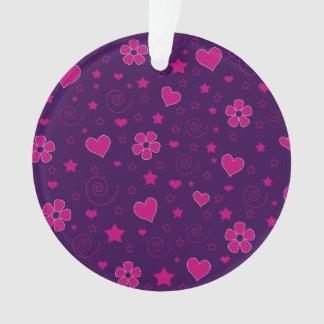 Purple pink flowers hearts stars swirls