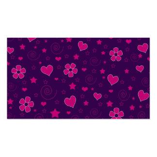 Purple pink flowers hearts stars swirls business cards