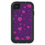 Purple pink flowers hearts stars swirls iPhone4 case