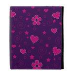 Purple pink flowers hearts stars swirls iPad folio cases