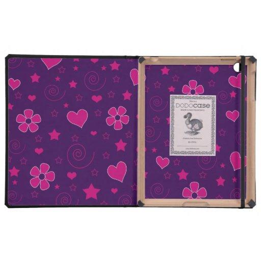 Purple pink flowers hearts stars swirls iPad covers