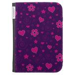 Purple pink flowers hearts stars swirls kindle 3G case