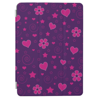 Purple pink flowers hearts stars swirls iPad air cover