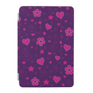 Purple pink flowers hearts stars swirls iPad mini cover