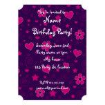 """Purple pink flowers hearts stars swirls 5"""" x 7"""" invitation card"""