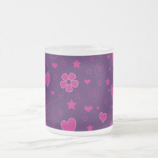 Purple pink flowers hearts stars swirls mugs