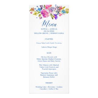 Purple & Pink Flowers Monogram Wedding Menu